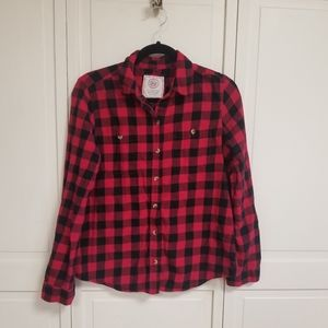 Women's Lg. Buffalo red/black plaid button down